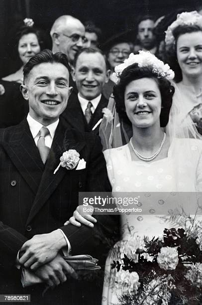 March 1949 Manchester United footballer Johnny Downie marries Sheila Slaven at St Williams Church Bradford Johnny Downie a forward was at Manchester...