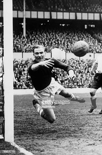 March 1956 Division 1 Tottenham Hotspur v Manchester City at White Hart Lane Manchester City goalkeeper Bert Trautman tips the ball around the post