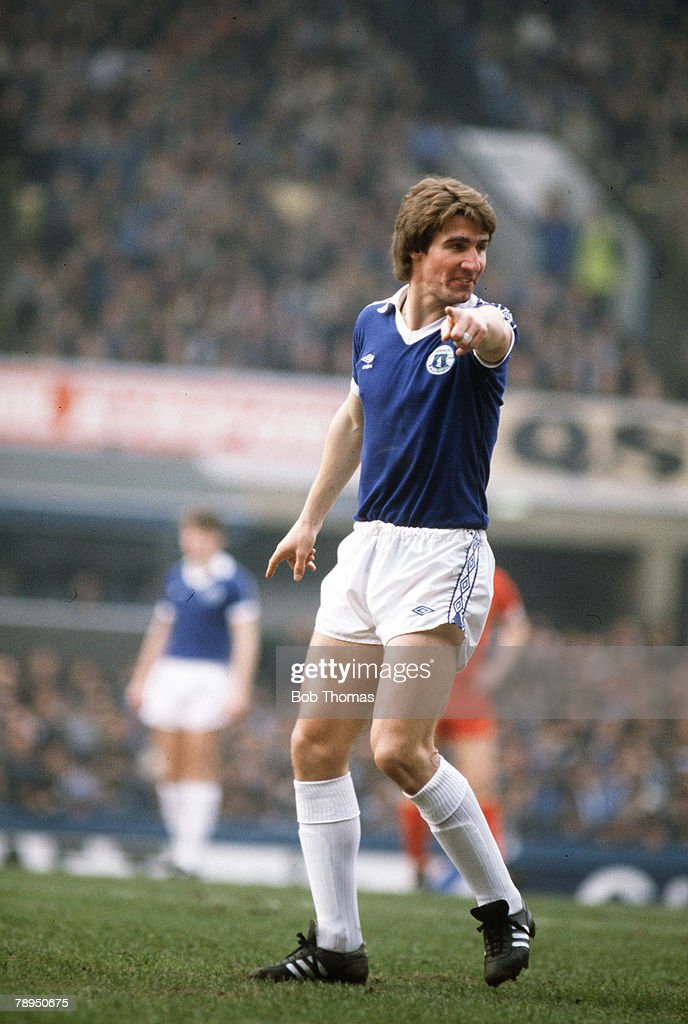 Sport. Football. pic: March 1982. Division 1. Everton 1 v Liverpool 3. Mark Higgins,Everton. : News Photo