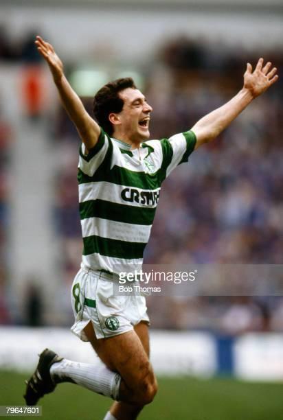 March 1988 Scottish Premier Division Rangers 1 v Celtic 2 Paul McStay Celtic midfielder celebrates after scoring the 1st goal Paul McStay won 76...
