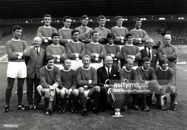 May 1968 The Manchester United first team suad pose together with the European Cup Players only Back row LR Bill Foulkes John Aston Jimmy Rimmer Alex...