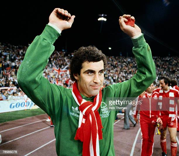 May 1979 European Cup Final in Malmo Nottingham Forest 1 v Malmo 0 Nottingham Forest goalkeeper Peter Shilton celebrates at the end of the match