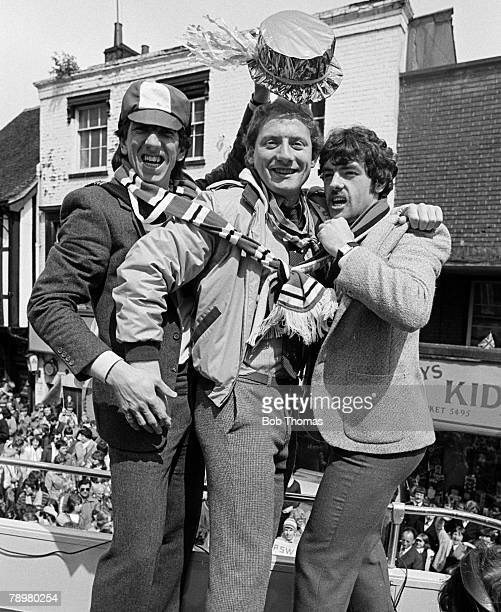 May 1981, Ipswich Town celebrations, arriving in Ipswich with the UEFA, Cup, Ipswich Town's left-right, Paul Mariner, Alan Brazil and John Wark...