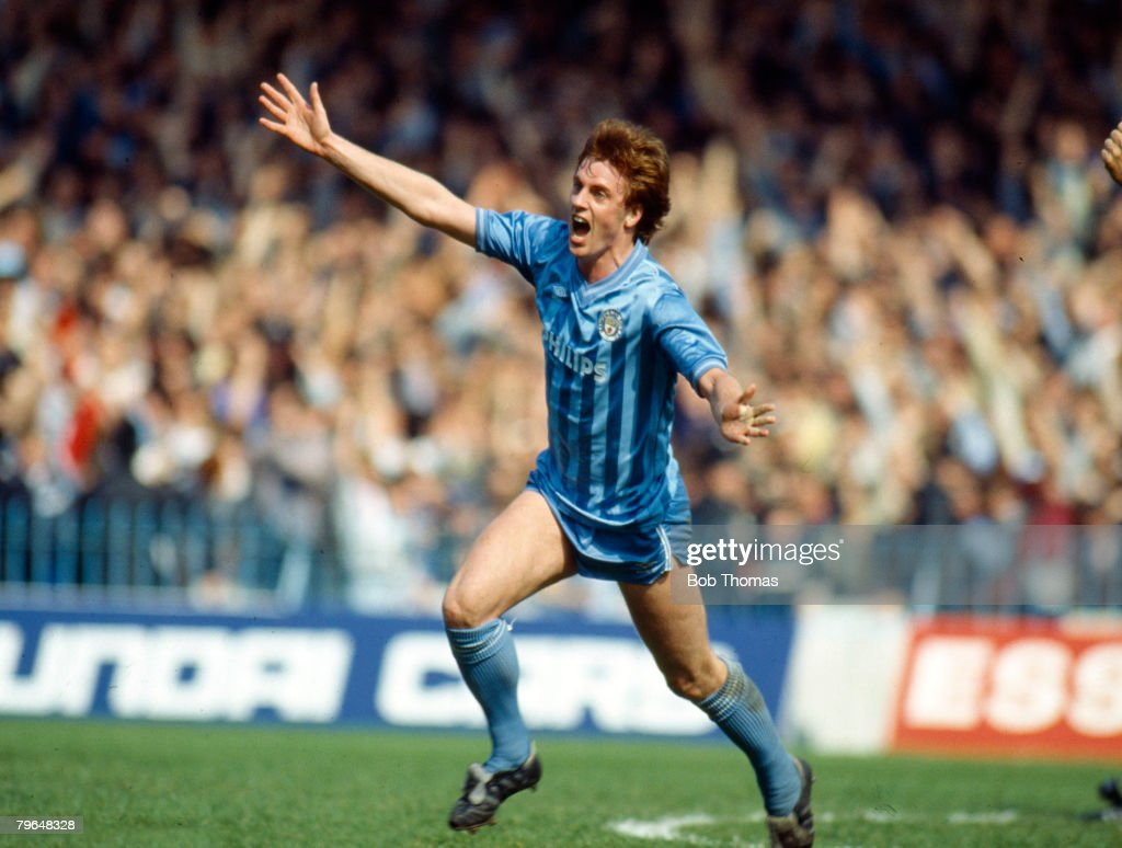 BT Sport, Football, pic: May 1985, Division 2, Manchester City 5 v Charlton Athletic 1, Manchester City's Jim Melrose celebrates after scoring : News Photo