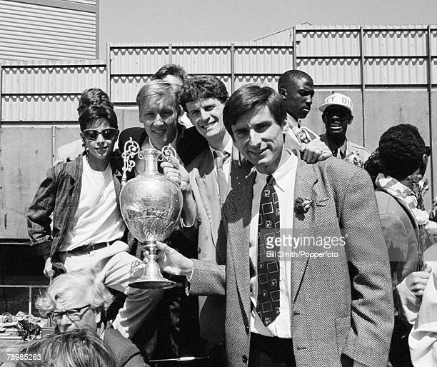 May 1989 Arsenal in North London during the Gunners celebrations to toast their League Championship success with Lee Dixon Brian Marwood and Alan...