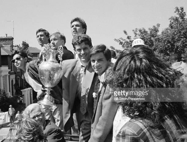 May 1989 Arsenal team bus in North London during the 'Gunners' celebrations to toast their League Championship success Pictured with the trophy front...