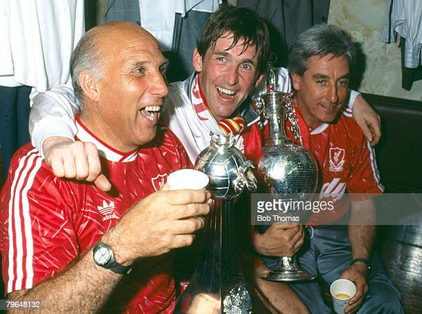May 1990, Division 1, Liverpool 1 v Derby County 0, Liverpool's left-right, Ronnie Moran , Kenny Dalglish and Roy Evans celebrate the Championship...