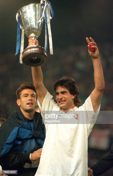 May 1995 UEFACup Winners Cup Final Arsenal 1 v Real Zaragoza 2 aet Real Zaragoza's Juan Esnaider holds aloft the trophy