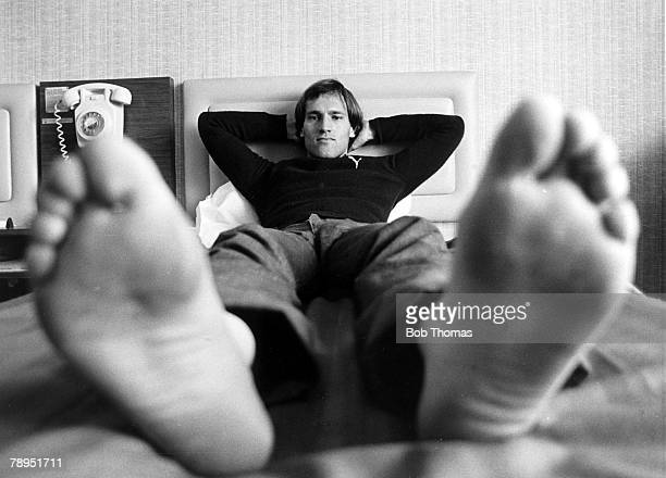 November 1981 West Bromwich Albion's Dutch international Martin Jol takes a break as he puts his feet up in his hotel room after a training session