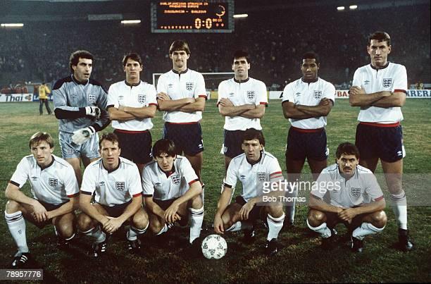 November 1987, European Championship in Belgrade, Yugoslavia 1 v England 4, The England team, Back row,l-r, Peter Shilton, Gary Lineker, Tony Adams,...