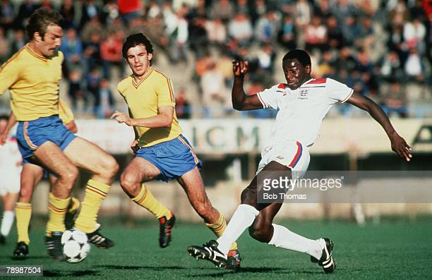 October 1980 England Under21 striker Justin Fashanu right in action in Romania