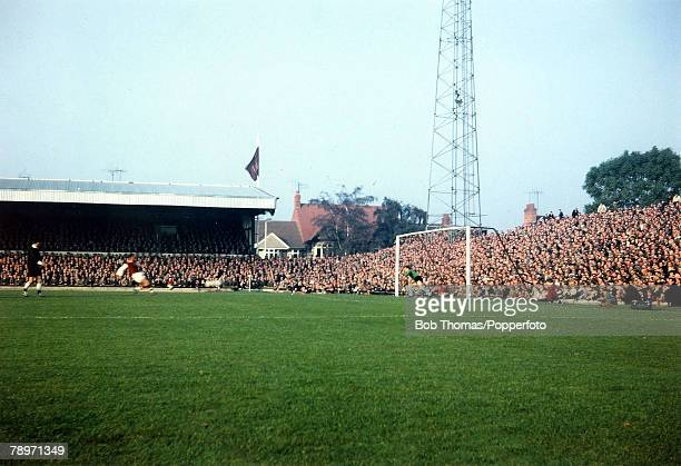 Season 19651966 23rd October 1965 Northampton Town 2 v West Ham United 1 Theo Foley scores Northampton's first goal with a penalty in front of the...