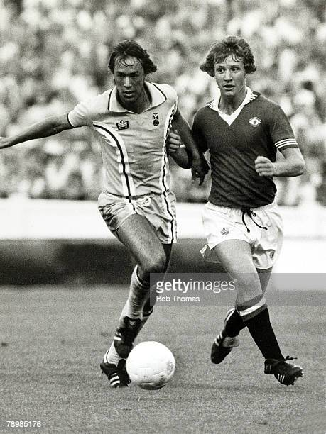 September 1976 Division 1 Coventry City v Manchester United Coventry City's John Beck and Manchester United's Jimmy Nicholl in a race for the ball