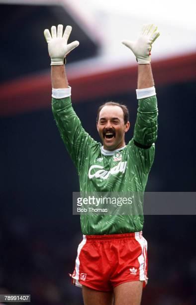 September 1990 Division 1 Liverpool 4 v Manchester United 0 Liverpool's Bruce Grobbelaar celebrating a goal