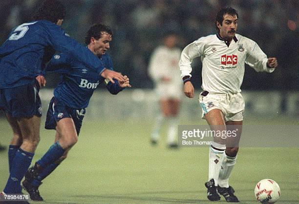 14th February 1990, Oldham Athletic 6 v West Ham United 0, Alan Devonshire, West Ham United, on the ball