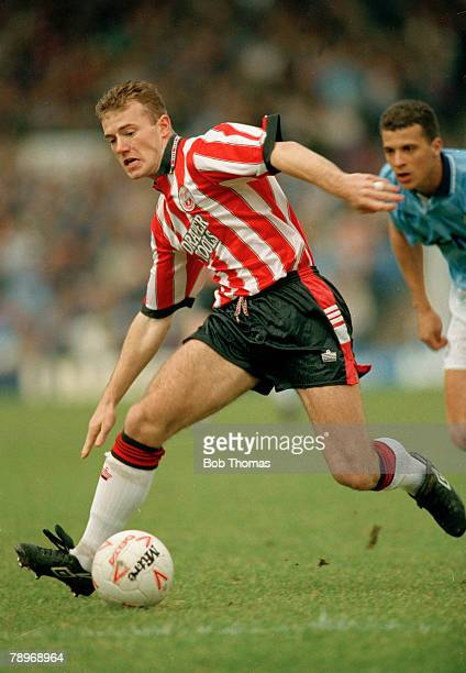 15th March 1992 Division 1 Manchester City v Southampton Southampton striker Alan Shearer on the ball Alan Shearer played for Southampton 19881992...