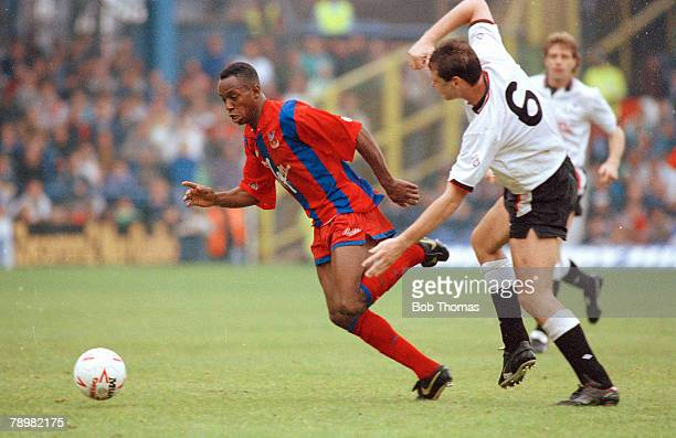 29th September 1990, Division 1, Derby County 0 v Crystal Palace 2, Crystal Palace's Ian Wright moves past Derby County's Alex Watson, Ian Wright won...