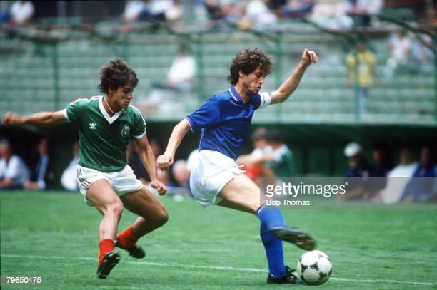 2nd June 1985 International Football Mexico City Mexico 1 v Italy 1 Italy's Fulvio Collovatti tries to turn away from Mexico's Javier Hernandez...