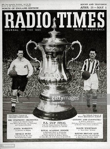 1954 The front cover of the Popperfoto via Getty Images's Radio Times the FA Cup Final issue April 25thMay 1st The cover features the FA Cup and the...