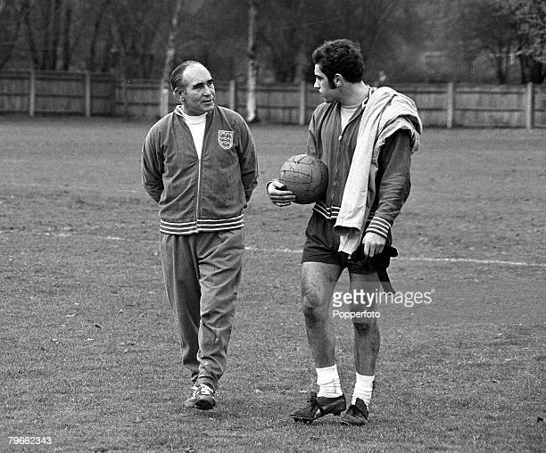 Sport Football Roehampton England 24th November 1970 England Manager Sir Alf Ramsey chats with Leicester City goalkeeper Peter Shilton who has been...