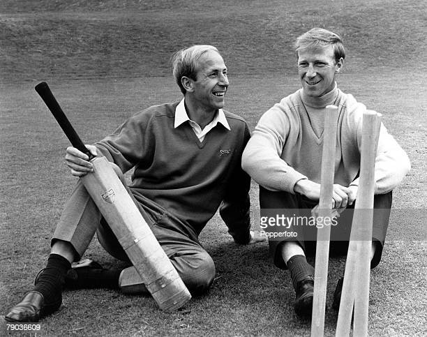 Sport Football Roehampton England World Cup Preparation 7th July 1966 Brothers Bobby and Jack Charlton relax prior to taking their turn to bat during...