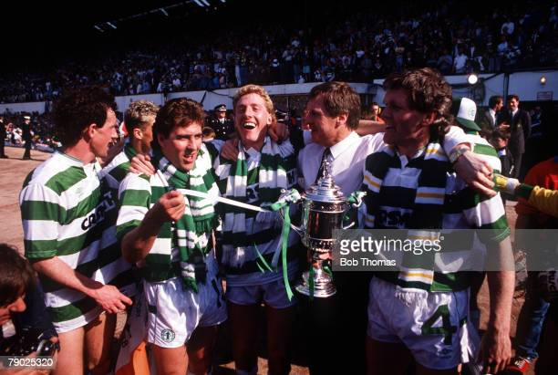Sport Football Scottish FA Cup Final Hampden Park 14th May 1988 Celtic 2 v Dundee United 1 Celtic's LR Billy Stark Mark McGhee Frank McAvennie...
