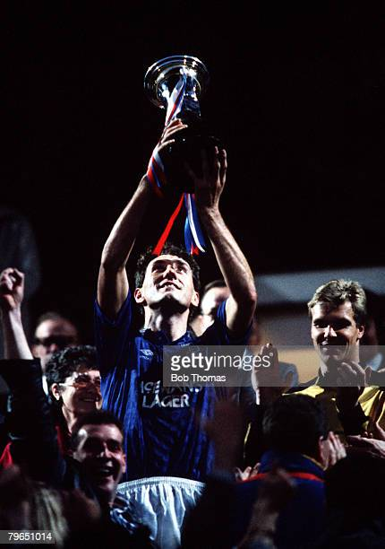 Sport Football Skol Cup Final Hampden Park 23rd October 1988 Rangers 3 v Aberdeen 2 Rangers captain Terry Butcher holds the trophy aloft