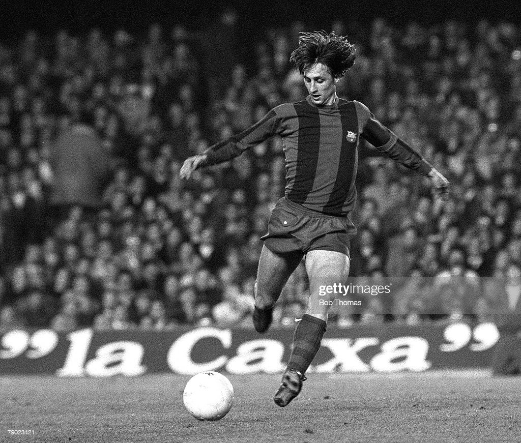 Sport. Football. Spain. 15th March 1978. UEFA Cup, Quarter Final, Second Leg. Barcelona 2 v Aston Villa 1 (Barcelona win 4-3 on aggregate). Barcelona's Johan Cruyff in action during the match at the Nou Camp Stadium. : News Photo