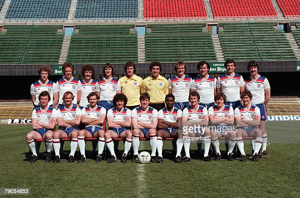 Sport Football Spain 25th March 1980 The England team for the Friendly match with Spain lineup together for a team group photograph Back Row LR Tony...