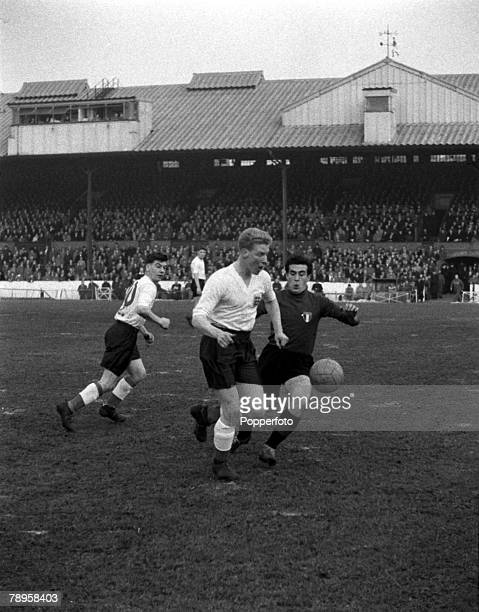 Sport Football Stamford Bridge London England 19th January 1955 Young England 5 v Young Italy 1 England's Ron Flowers is pictured with the ball...
