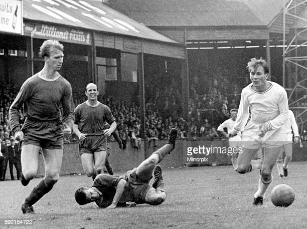 Sport Football Swansea City Leeds United centre half Jack Charlton tries to head off Swansea winger Morgans as he comes through with the ball Hitting...