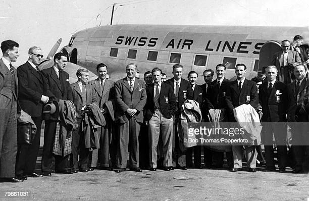 Sport, Football, Switzerland, May 1947, The Football Association touring party, arrive at Zurich airport, Featured are, Stanley Rous, Frank Swift,...