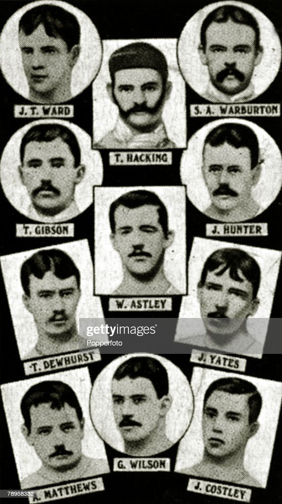 Sport. Football. The 1883 English FA. Cup winners Blackburn Olympic, from top to bottom, left-right. J.T.Ward, T.Hacking, S.Warburton, T.Gibson, W.Astley, J.Hunter, T. Dewhurst, J.Yates, A.Matthews, G.Wilson, J.Costley. Blackburn Olympic beat Old Etonians : News Photo