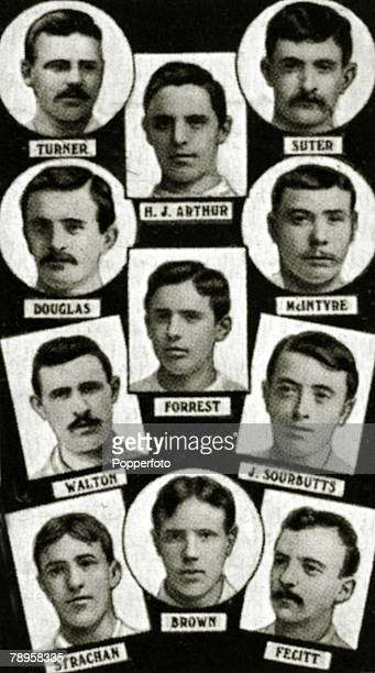 Sport Football The 1886 English FA Cup winners Blackburn Rovers from top to bottom leftright Turner RJArthur Suter Douglas Forrest McIntyre Walton...