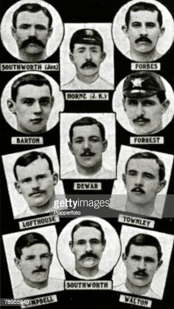 Sport Football The 1890 English FA Cup winners Blackburn Rovers from top to bottom leftright James Southworth JHorne Forbes Barton Dewar Forrest...