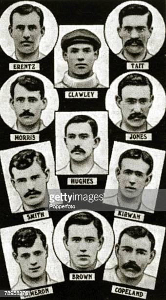 Sport Football The 1901 English FA Cup winners Tottenham Hotspur from top to bottom leftright Erentz Clawley Tait Morris Jones Smith Hughes Kirwan...
