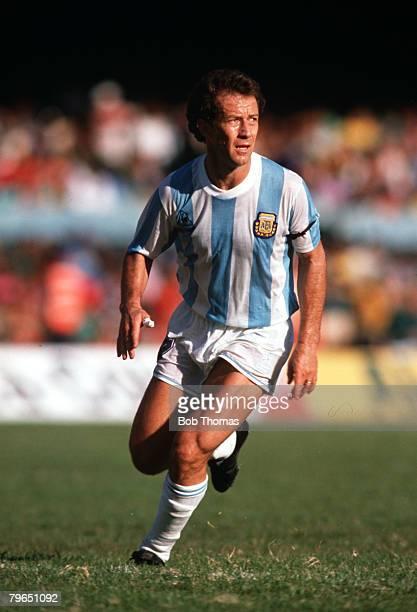 Sport Football The Copa America Rio de Janeiro 16th July 1989 Argentina 0 v Paraguay 0 Argentina's Gabriel Calderon