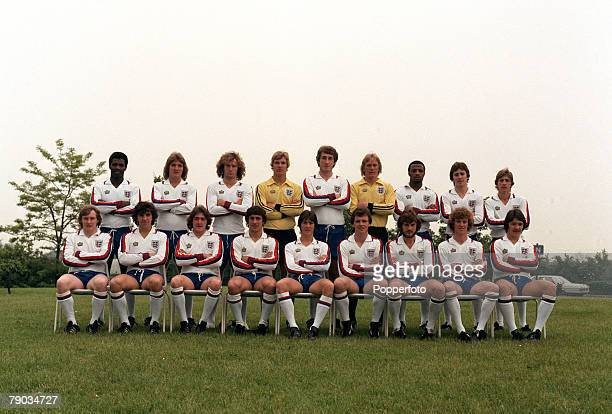 Sport Football The England Under 21 squad pose together for a group photograph Back Row LR Luther Blissett Russell Osman Billy Gilbert Chris Woods...