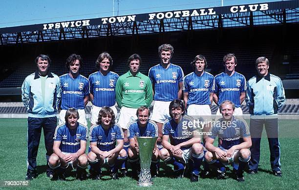 Sport Football The Ipswich Town team pose together for a team photograph with the UEFA Cup trophy that they won by beating AZ 67 Alkmaar Back Row LR...