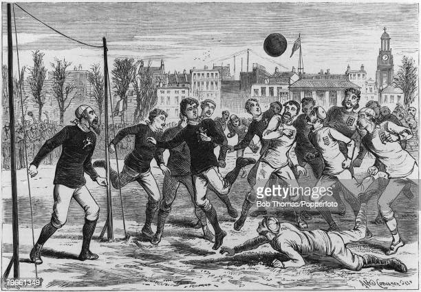 Sport Football The Kennigton Oval Surrey England 6th March 1875 International Football England 2 v Scotland 2 An illustration showing goalmouth...