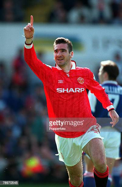 Sport Football The Premier League 1st May 1995 Ipswich Town 1 v Manchester United 2 Manchester United's Eric Cantona celebrates after scoring a goal