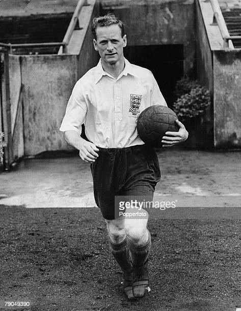 Sport Football Tom Finney of Preston North End and England pictured before England's international match with Uruguay on 31st May 1953 during their...