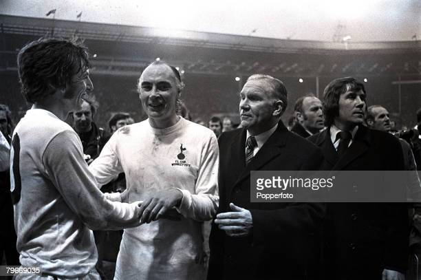 Sport Football Tottenham Hotspur Captain Martin Peters with Alan Gilzean and Manager Bill Nicholson are all delighted after Spurs had beaten Norwich...