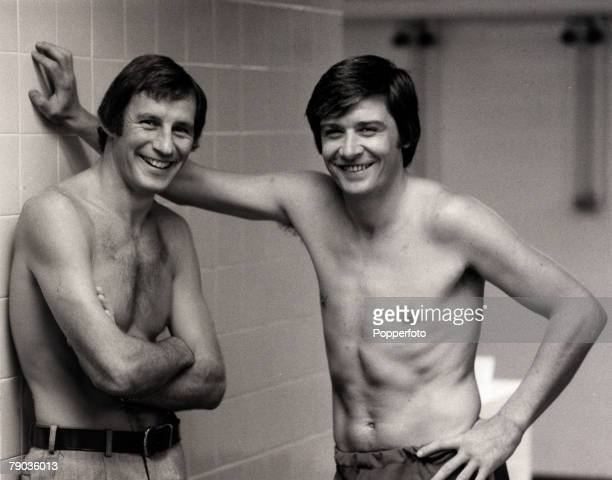 Sport Football Tottenham Hotspur Manager Terry Neill left pictured in the White Hart Lane dressing room with full back Cyri Knowles