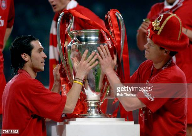 Sport Football UEFA Champions League Final 25th May 2005 Ataturk Stadium Istanbul AC Milan 3 v Liverpool 3 Luis Garcia and John Arne Riise of...