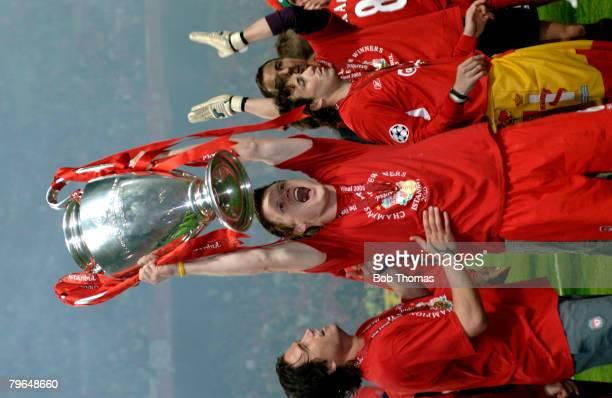 Sport Football UEFA Champions League Final 25th May 2005 Ataturk Stadium Istanbul AC Milan 3 v Liverpool 3 Liverpool's John Arne Riise celebrates...