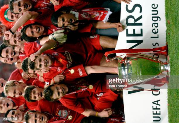 Sport Football UEFA Champions League Final 25th May 2005 Ataturk Stadium Istanbul AC Milan 3 v Liverpool 3 Liverpool captain Steven Gerrard...