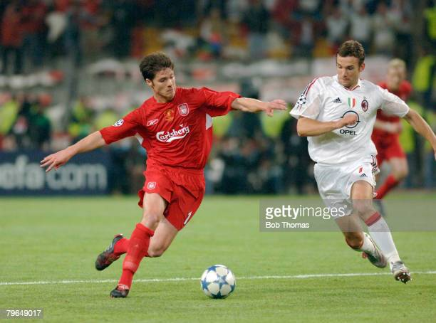 Sport Football UEFA Champions League Final 25th May 2005 Ataturk Stadium Istanbul AC Milan 3 v Liverpool 3 Liverpool's Xabi Alonso with Milan's...