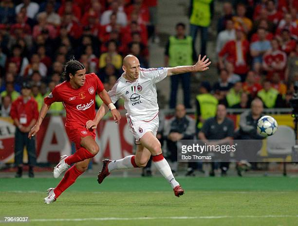Sport Football UEFA Champions League Final 25th May 2005 Ataturk Stadium Istanbul AC Milan 3 v Liverpool 3 Milan Baros of Liverpool with Jaap Stam of...