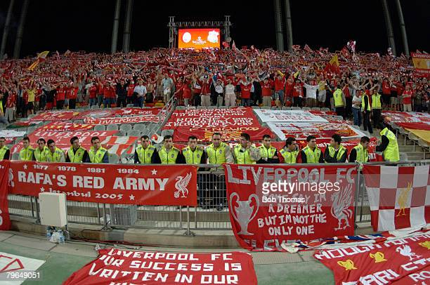 Sport Football UEFA Champions League Final 25th May 2005 Ataturk Stadium Istanbul AC Milan 3 v Liverpool 3 The Liverpool fans display their flags